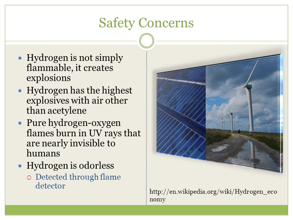 Social Laws/Political Problems Many hydrogen codes and standards for hydrogen fuel cell vehicles, stationary fuel cell applications and portable fuel cell applications In order to commercialize hydrogen power, advocates want to change laws to make it easier to distribute to a wide area Trying to change building codes and quality control processes to save money through the federal and state government http://en.wikipedia.org/wiki/Hydrogen_economy
