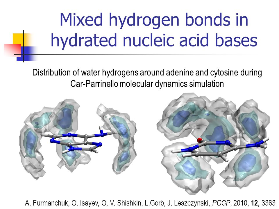 Mixed hydrogen bonds in hydrated nucleic acid bases Distribution of water hydrogens around adenine and cytosine during Car-Parrinello molecular dynami