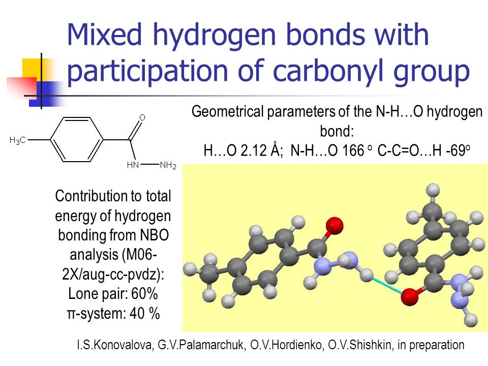 Mixed hydrogen bonds with participation of carbonyl group Geometrical parameters of the N-H…O hydrogen bond: H…O 2.12 Å; N-H…O 166 o С-С=O…H -69 o Con