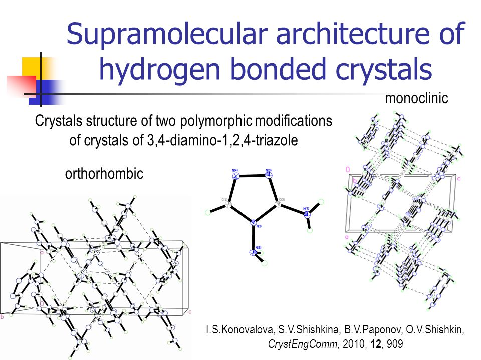 Supramolecular architecture of hydrogen bonded crystals orthorhombic monoclinic Crystals structure of two polymorphic modifications of crystals of 3,4