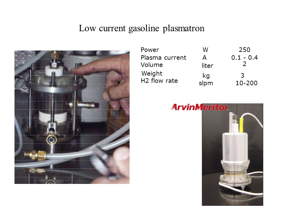 Low current gasoline plasmatron PowerW250 Plasma currentA0.1 - 0.4 H2 flow rate slpm10-200 Volume liter 2 Weight kg3