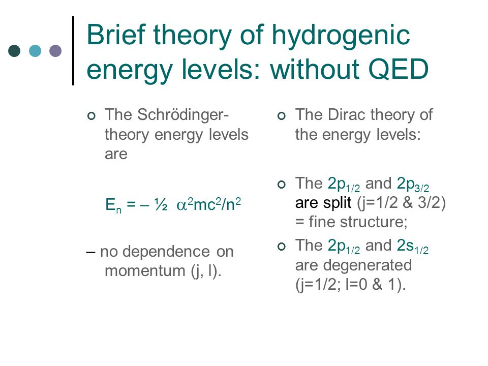 Brief theory of hydrogenic energy levels: without QED The Schrödinger- theory energy levels are E n = – ½  2 mc 2 /n 2 – no dependence on momentum (j, l).