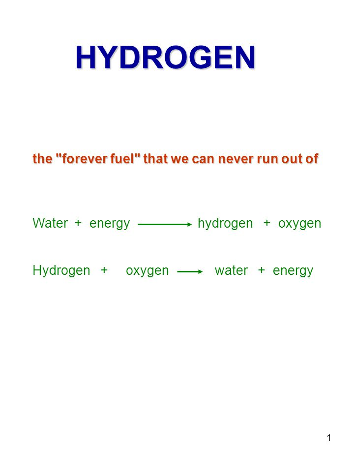1 the forever fuel that we can never run out of HYDROGEN Water + energy hydrogen + oxygen Hydrogen + oxygen water + energy