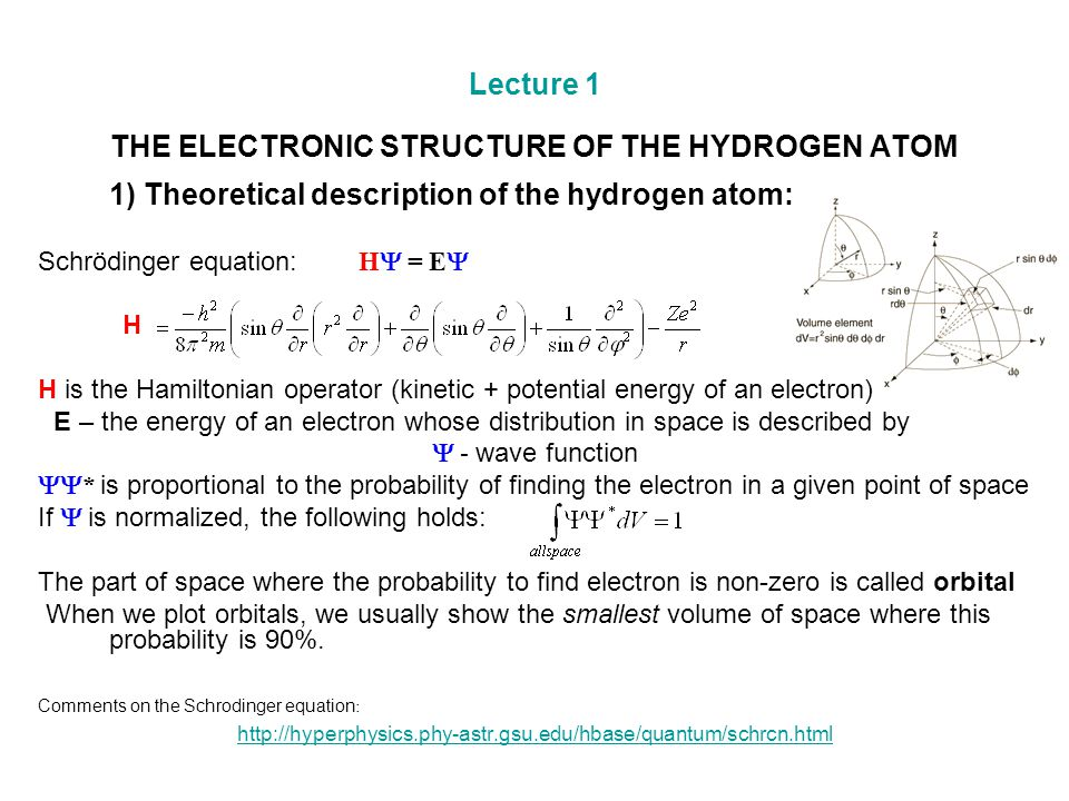 Lecture 1 THE ELECTRONIC STRUCTURE OF THE HYDROGEN ATOM 1) Theoretical description of the hydrogen atom: Schrödinger equation: H  = E  H H is the Ha