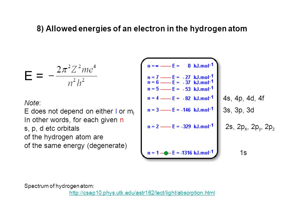 8) Allowed energies of an electron in the hydrogen atom E = Note: E does not depend on either l or m l In other words, for each given n s, p, d etc or