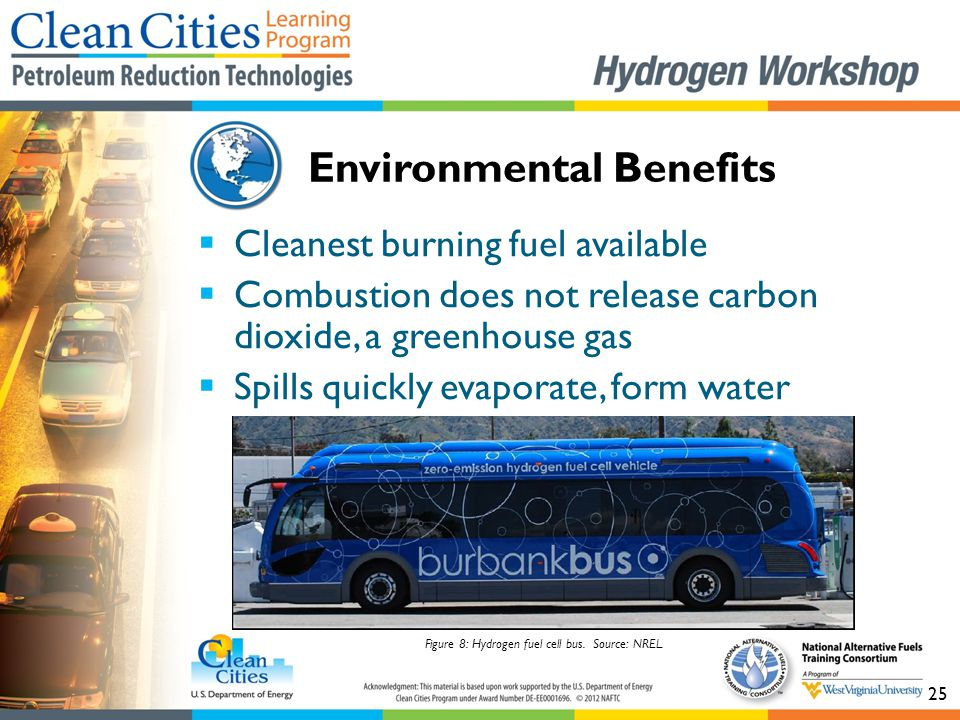25  Cleanest burning fuel available  Combustion does not release carbon dioxide, a greenhouse gas  Spills quickly evaporate, form water Environment