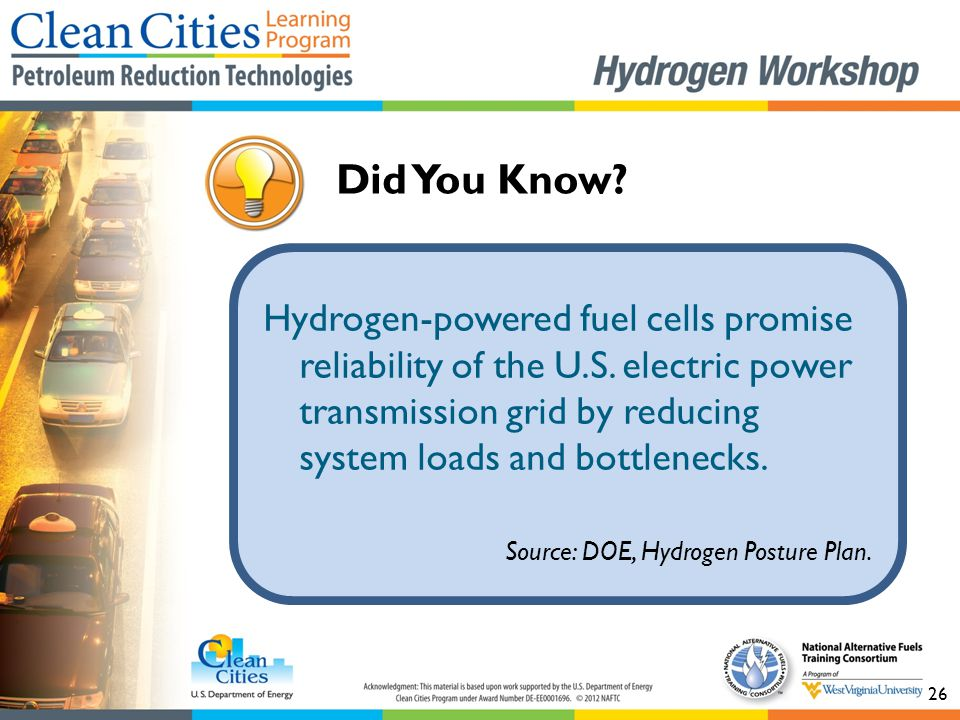 26 Did You Know? Hydrogen-powered fuel cells promise reliability of the U.S. electric power transmission grid by reducing system loads and bottlenecks