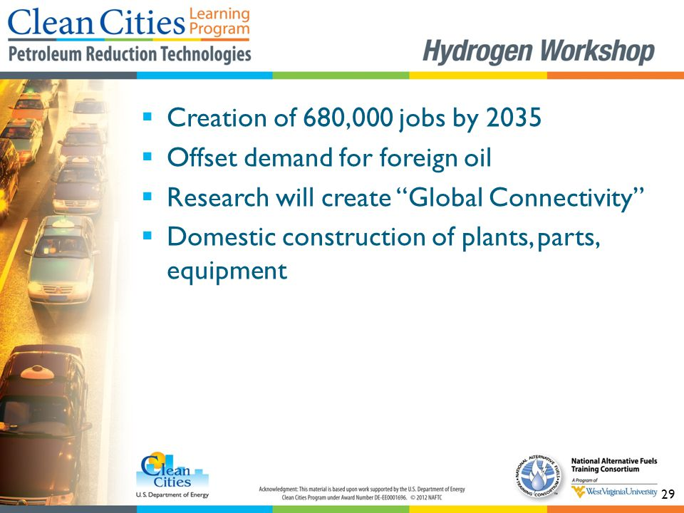 "29  Creation of 680,000 jobs by 2035  Offset demand for foreign oil  Research will create ""Global Connectivity""  Domestic construction of plants,"