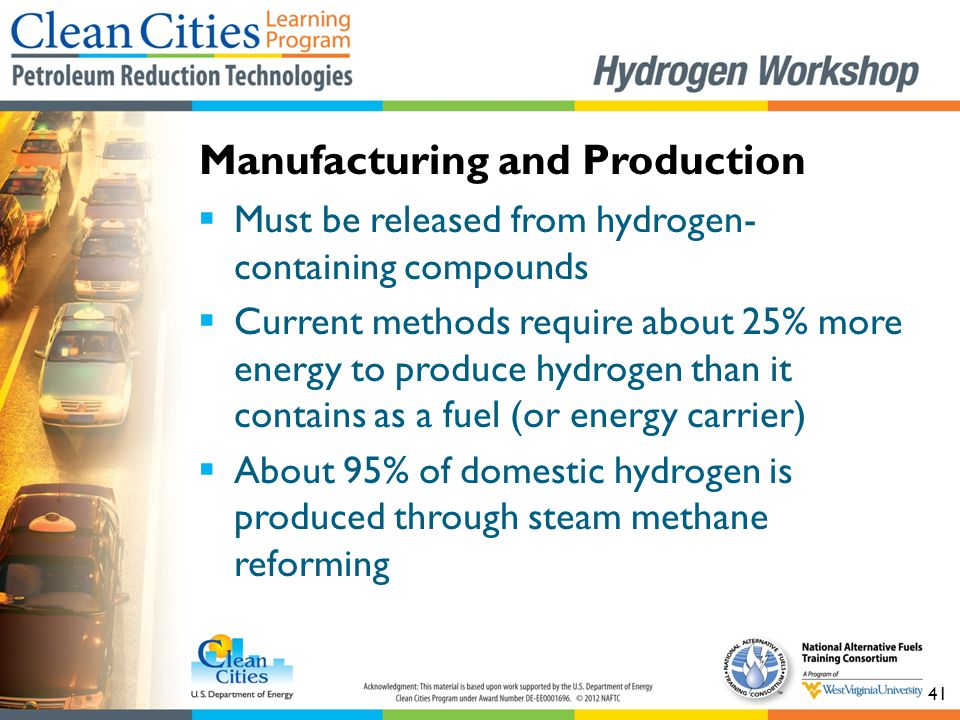 41  Must be released from hydrogen- containing compounds  Current methods require about 25% more energy to produce hydrogen than it contains as a fu