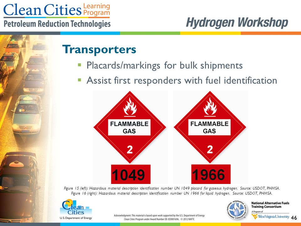 46 Transporters  Placards/markings for bulk shipments  Assist first responders with fuel identification Figure 15 (left): Hazardous material descrip