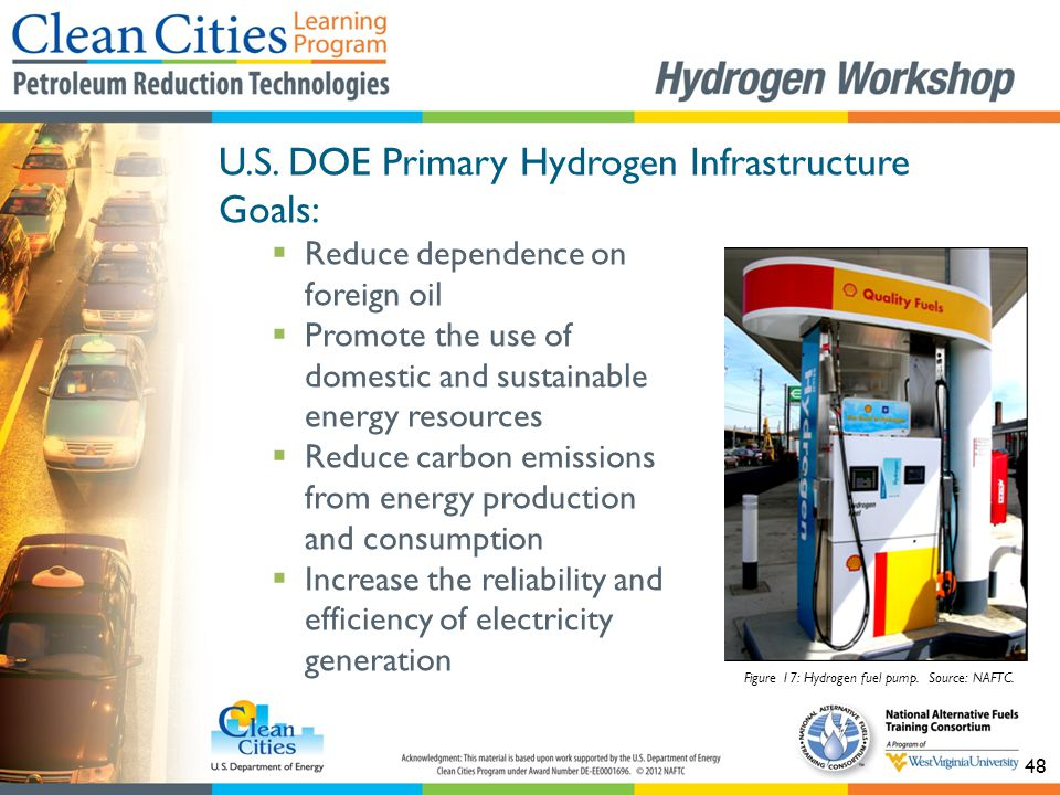 48 U.S. DOE Primary Hydrogen Infrastructure Goals:  Reduce dependence on foreign oil  Promote the use of domestic and sustainable energy resources 