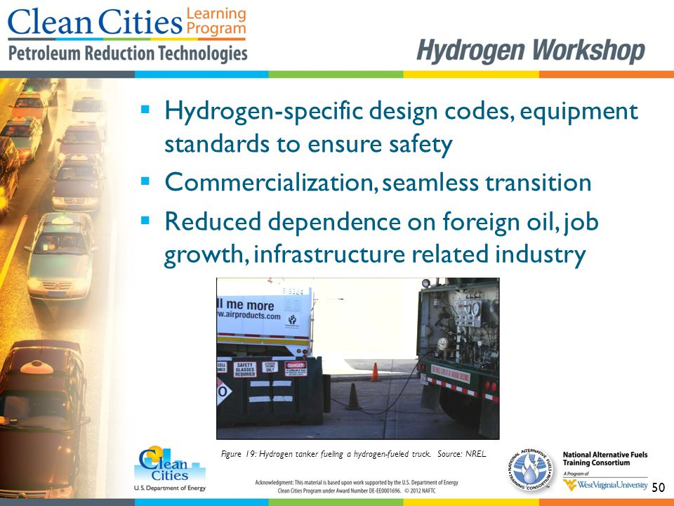 50  Hydrogen-specific design codes, equipment standards to ensure safety  Commercialization, seamless transition  Reduced dependence on foreign oil