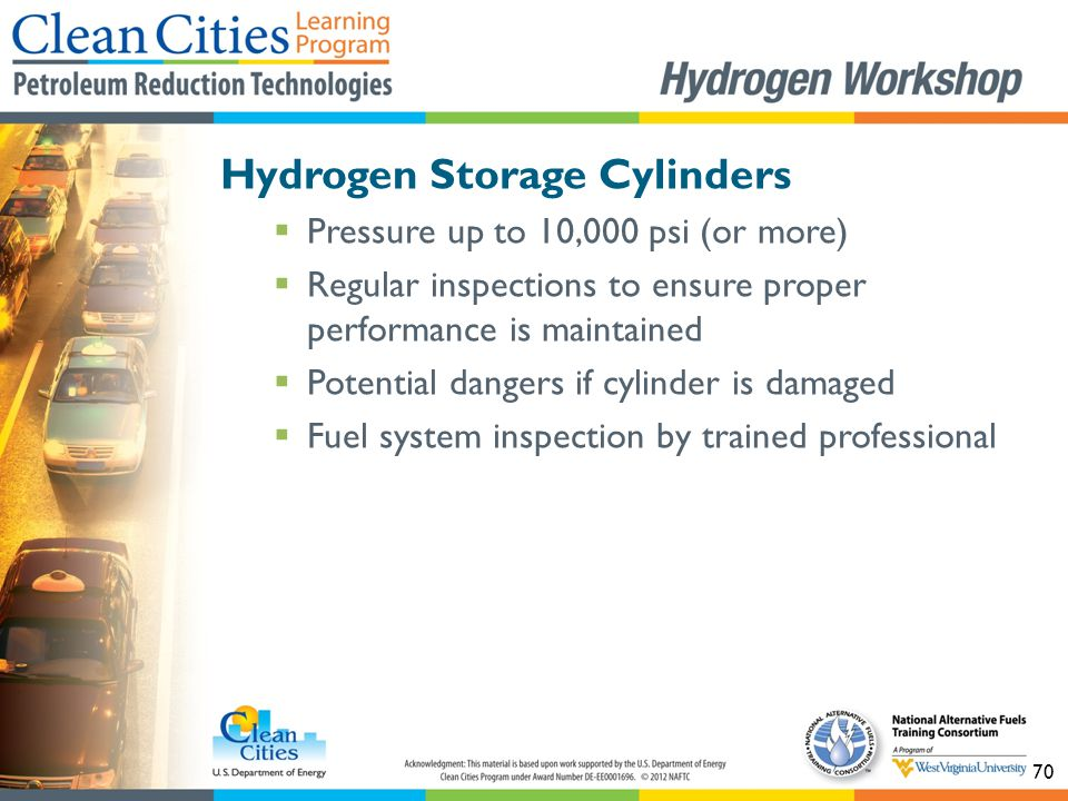 70 Hydrogen Storage Cylinders  Pressure up to 10,000 psi (or more)  Regular inspections to ensure proper performance is maintained  Potential dange