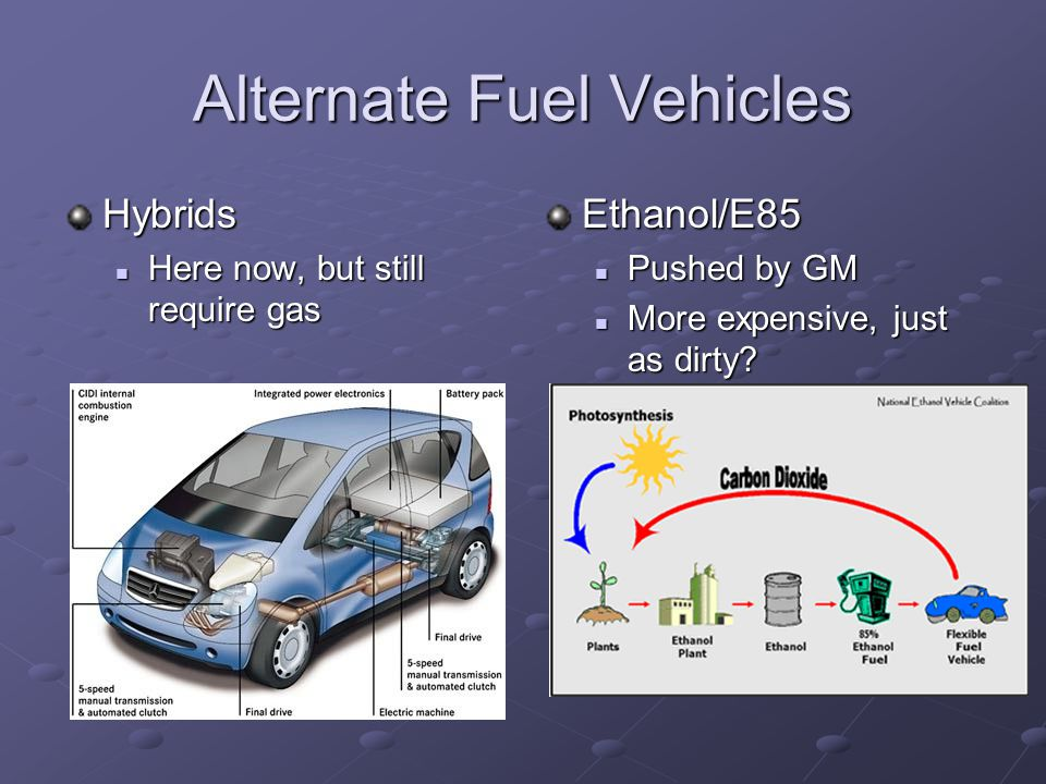 Alternate Fuel Vehicles Hybrids Here now, but still require gas Here now, but still require gasEthanol/E85 Pushed by GM More expensive, just as dirty?
