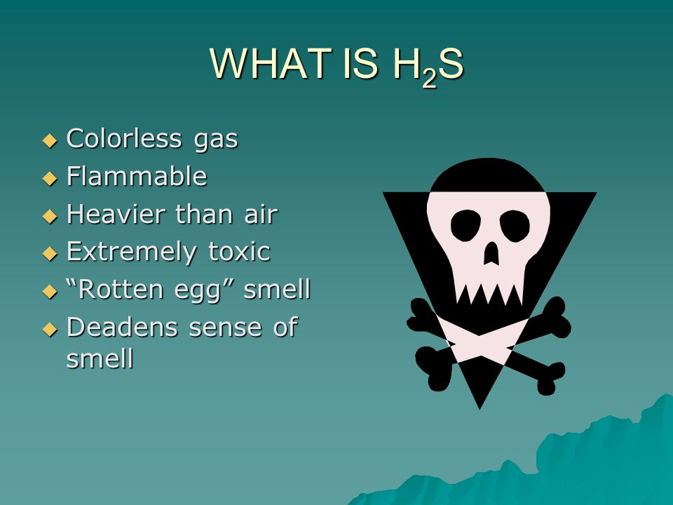 WHAT IS H 2 S  Colorless gas  Flammable  Heavier than air  Extremely toxic  Rotten egg smell  Deadens sense of smell