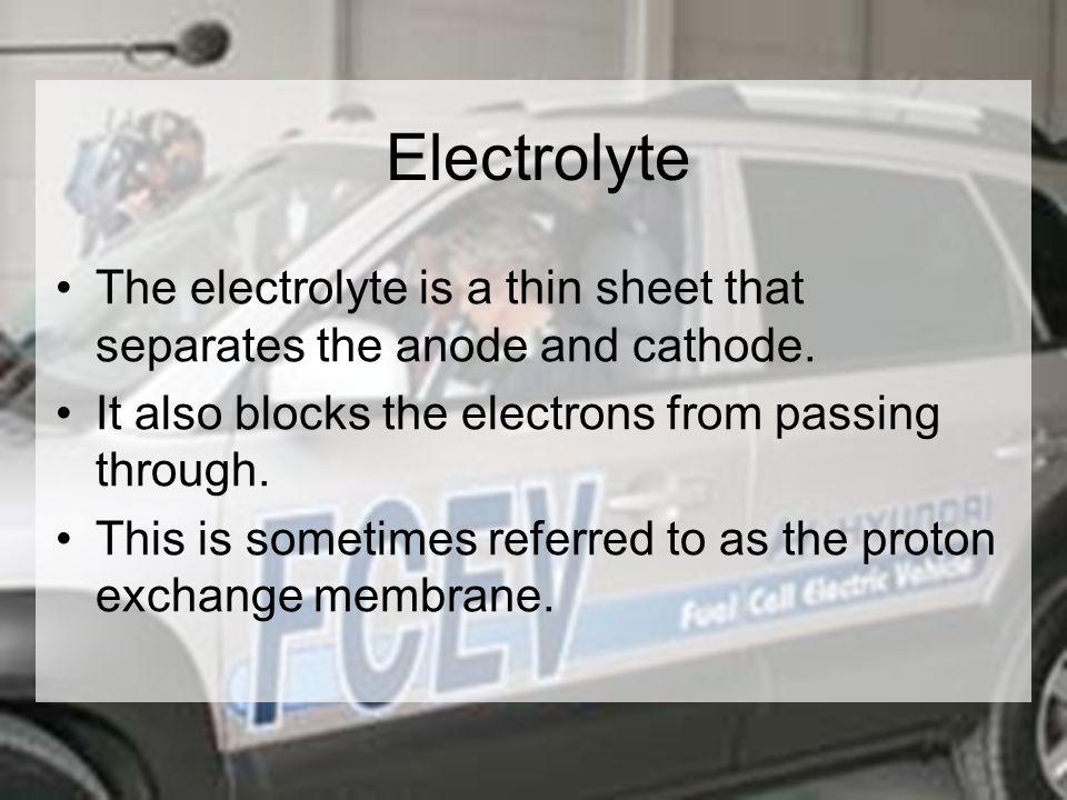 Electrolyte The electrolyte is a thin sheet that separates the anode and cathode.