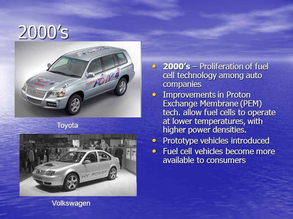 2000's 2000's – Proliferation of fuel cell technology among auto companies 2000's – Proliferation of fuel cell technology among auto companies Improvements in Proton Exchange Membrane (PEM) tech.