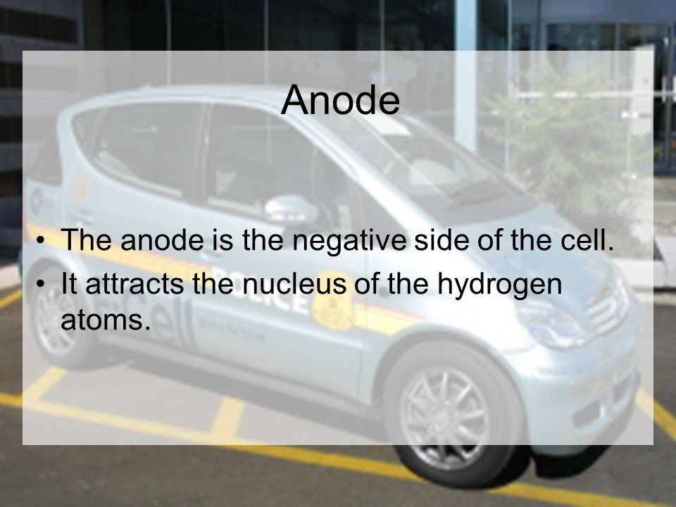 Anode The anode is the negative side of the cell. It attracts the nucleus of the hydrogen atoms.