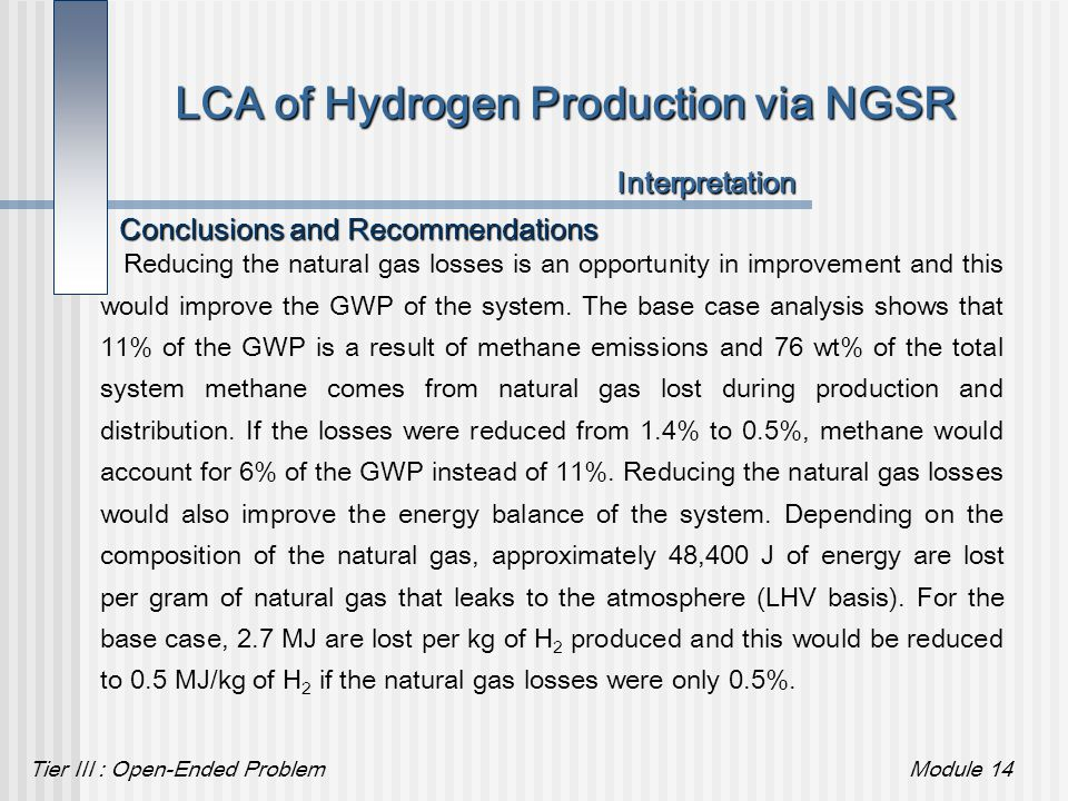 Tier III : Open-Ended ProblemModule 14 LCA of Hydrogen Production via NGSR Interpretation Reducing the natural gas losses is an opportunity in improve