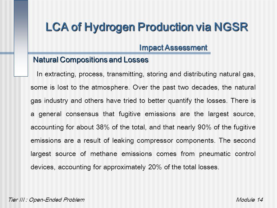 Tier III : Open-Ended ProblemModule 14 LCA of Hydrogen Production via NGSR Impact Assessment Natural Compositions and Losses In extracting, process, t