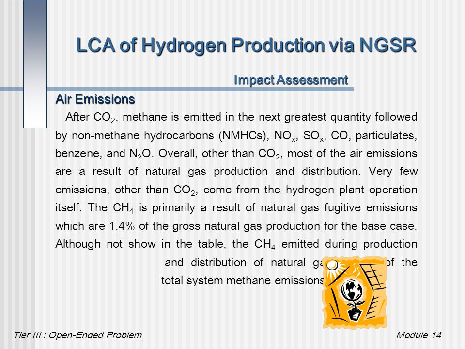 Tier III : Open-Ended ProblemModule 14 LCA of Hydrogen Production via NGSR Impact Assessment Air Emissions After CO 2, methane is emitted in the next