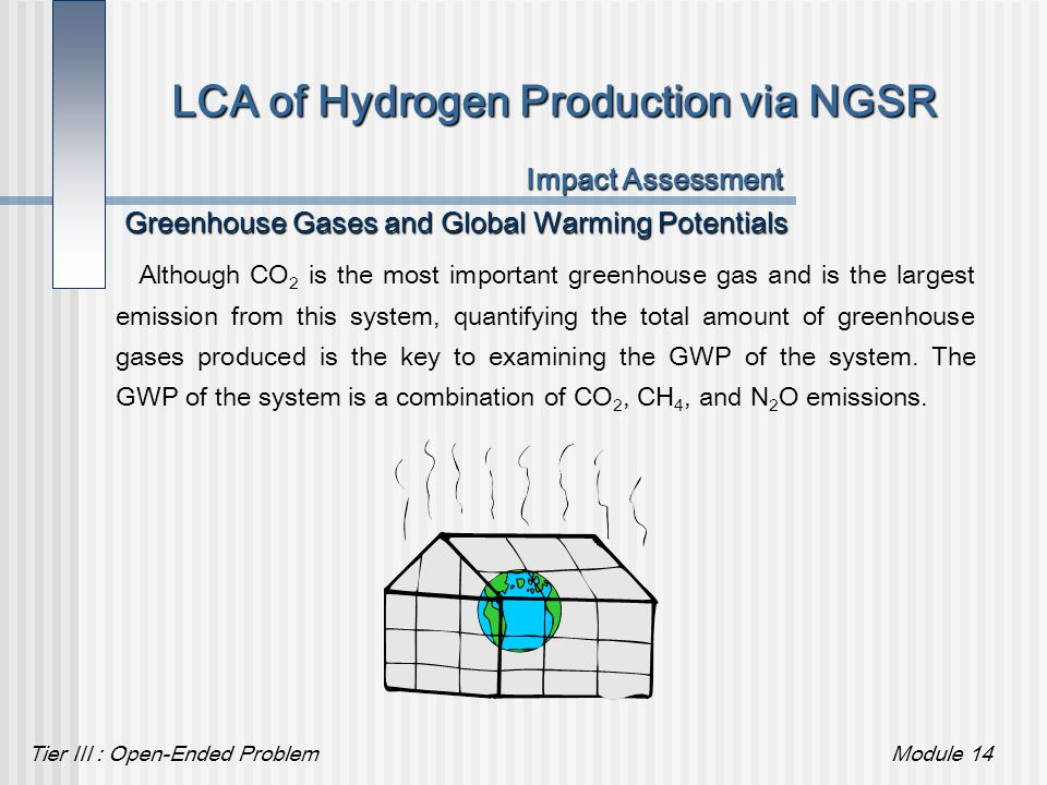 Tier III : Open-Ended ProblemModule 14 LCA of Hydrogen Production via NGSR Impact Assessment Greenhouse Gases and Global Warming Potentials Although C