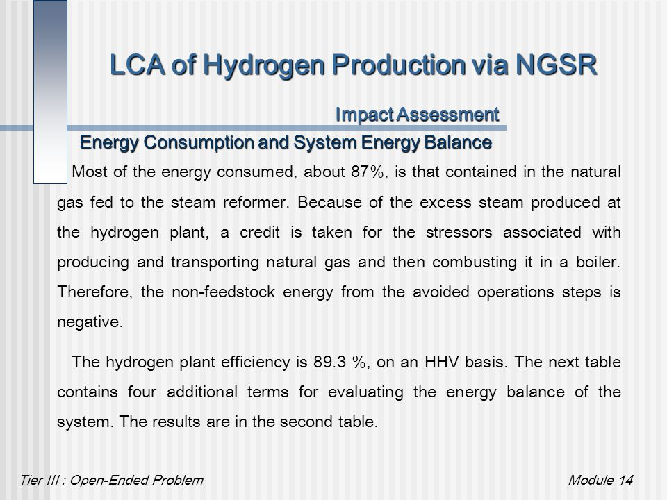 Tier III : Open-Ended ProblemModule 14 LCA of Hydrogen Production via NGSR Impact Assessment Energy Consumption and System Energy Balance Most of the