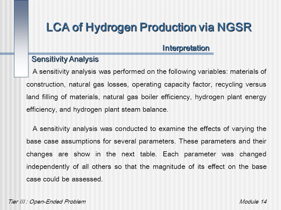Tier III : Open-Ended ProblemModule 14 Sensitivity Analysis LCA of Hydrogen Production via NGSR A sensitivity analysis was performed on the following