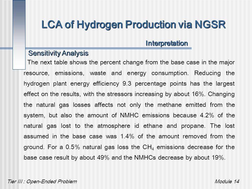 Tier III : Open-Ended ProblemModule 14 LCA of Hydrogen Production via NGSR The next table shows the percent change from the base case in the major res