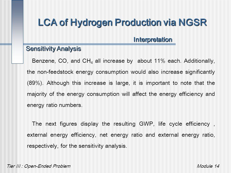 Tier III : Open-Ended ProblemModule 14 LCA of Hydrogen Production via NGSR Benzene, CO, and CH 4 all increase by about 11% each. Additionally, the non