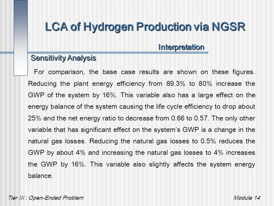 Tier III : Open-Ended ProblemModule 14 LCA of Hydrogen Production via NGSR For comparison, the base case results are shown on these figures. Reducing