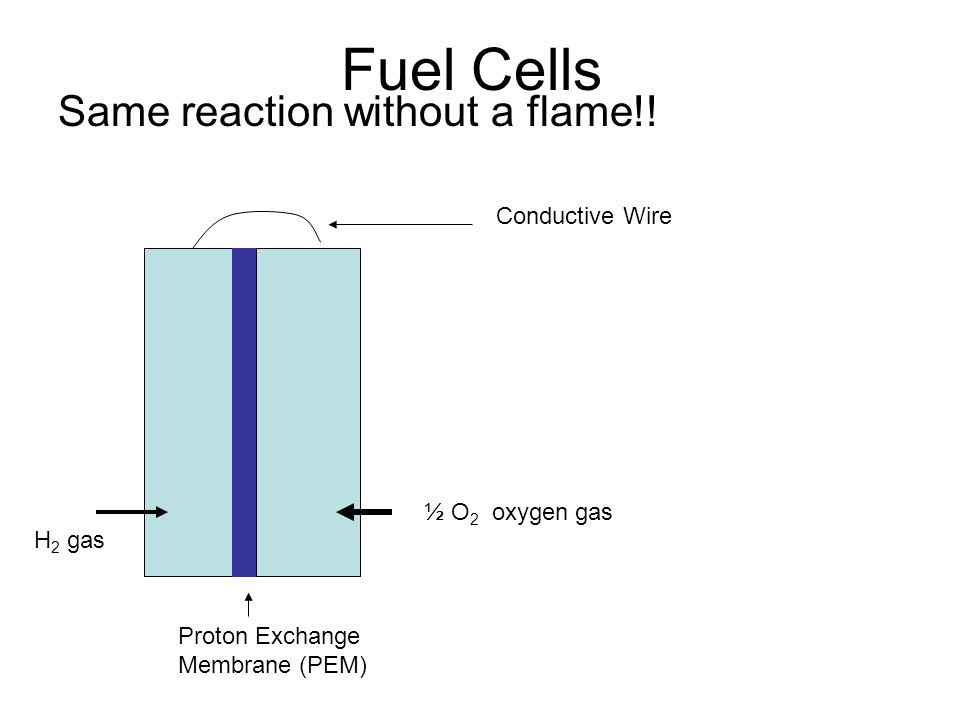 Fuel Cells Same reaction without a flame!! Proton Exchange Membrane (PEM) Conductive Wire H 2 gas ½ O 2 oxygen gas
