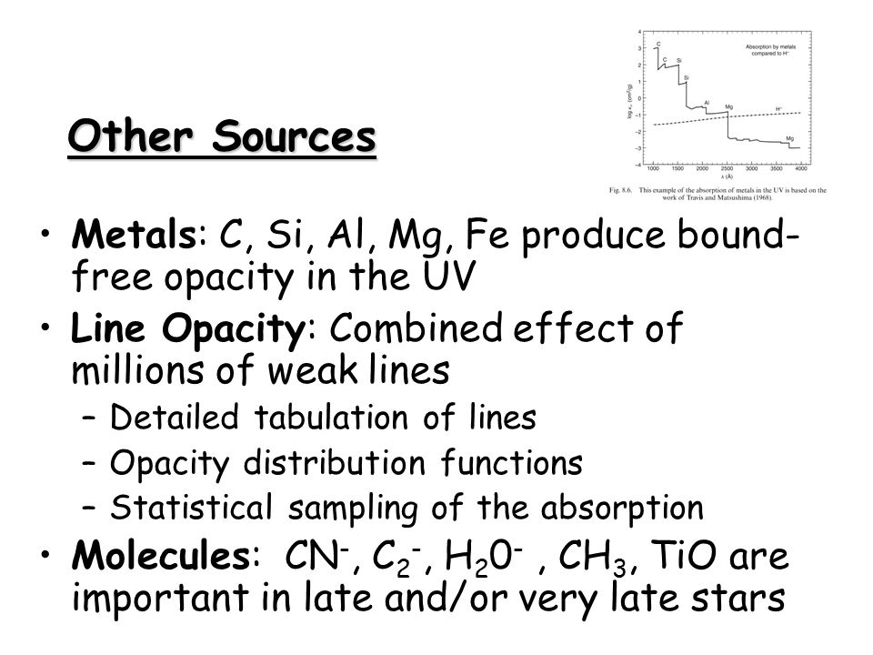 Other Sources Metals: C, Si, Al, Mg, Fe produce bound- free opacity in the UV Line Opacity: Combined effect of millions of weak lines –Detailed tabula