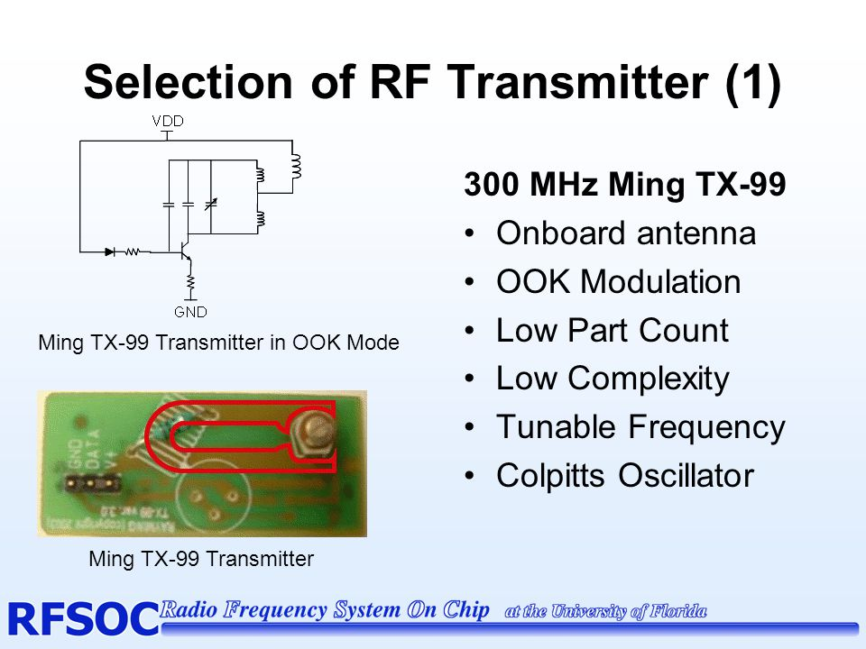 Selection of RF Receiver (1) 300 MHz Ming RE-99 Onboard antenna External Antenna Tap Low Part Count Low Complexity Tunable Frequency Envelope Detection Little Documentation Ming RE-99 Receiver Schematic Ming RE-99 Receiver