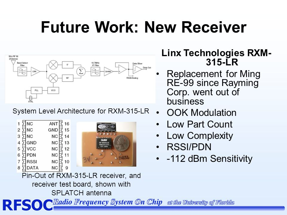 Future Work: Low-Profile Antenna Linx Technologies ANT- 315-SP 'SPLATCH' Style Antenna Grounded Line, Microstrip Monopole Antenna After matching, -9dB gain, trade off for low- profile antenna 5 MHz -10 dB BW, Center Frequency = 315 MHz 'SPLATCH' dimensions, matched S- parameters Antenna Test Board w/ Matching Circuit