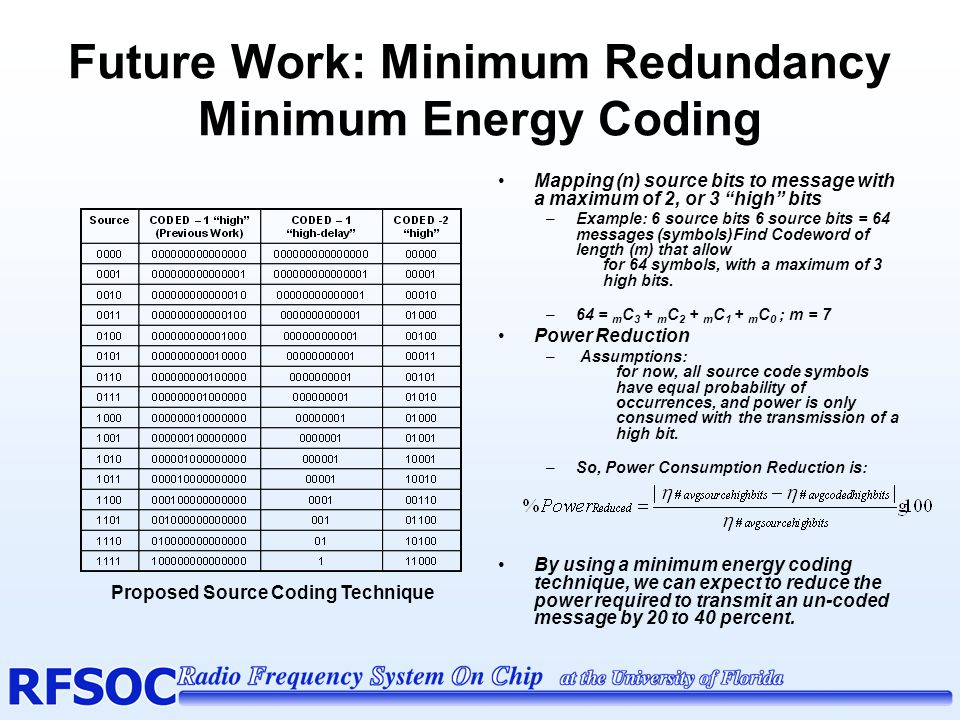 Minimum Redundancy Minimum Energy Coding (cont.)