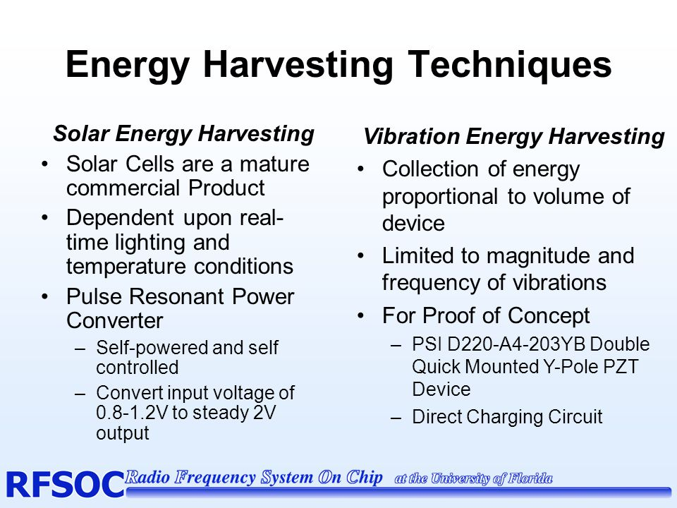 Energy Harvesting Techniques cont.