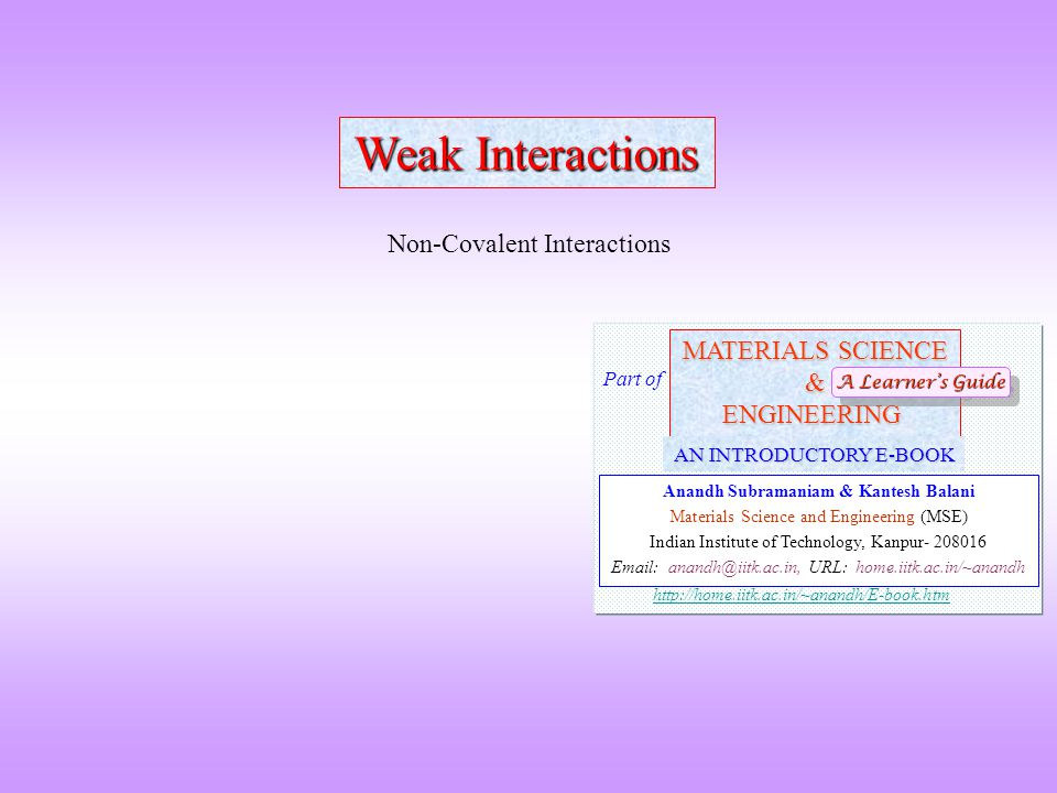  We will discuss here about intermolecular weak interactions  The strong 'bonds' are: Covalent, Ionic and Metallic Weak Interactions