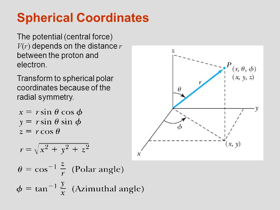Spherical Coordinates The potential (central force) V(r) depends on the distance r between the proton and electron. Transform to spherical polar coord