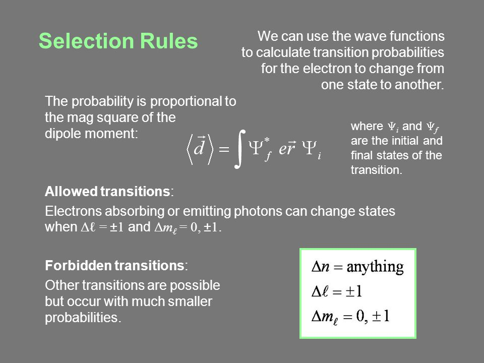 Selection Rules The probability is proportional to the mag square of the dipole moment: Allowed transitions: Electrons absorbing or emitting photons c