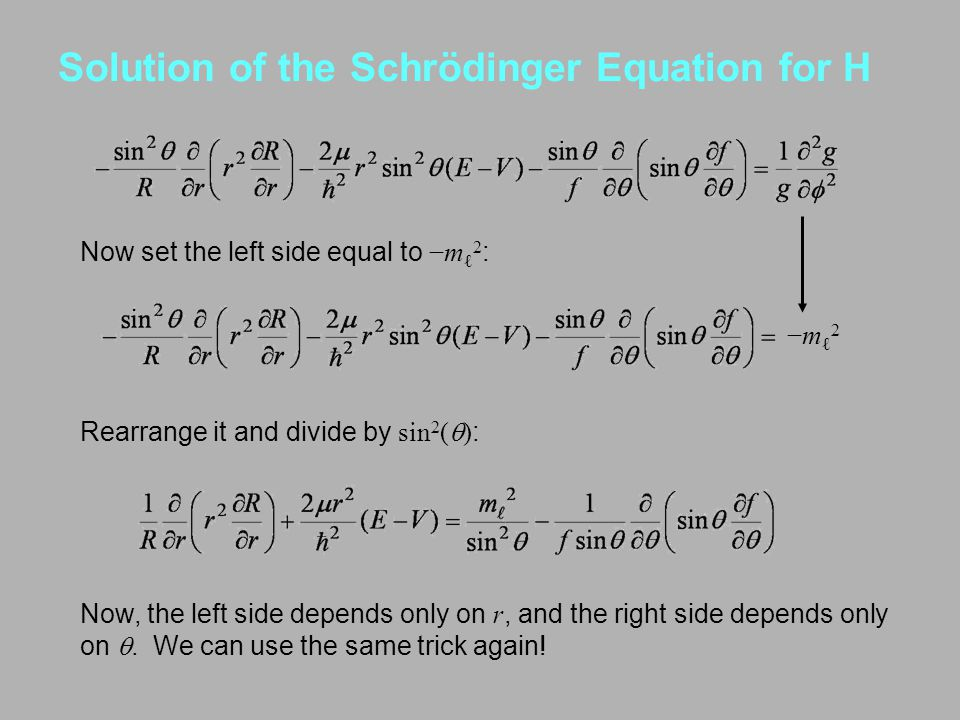 Solution of the Schrödinger Equation for H Now set the left side equal to −m ℓ 2 : −mℓ2−mℓ2 Now, the left side depends only on r, and the right side d