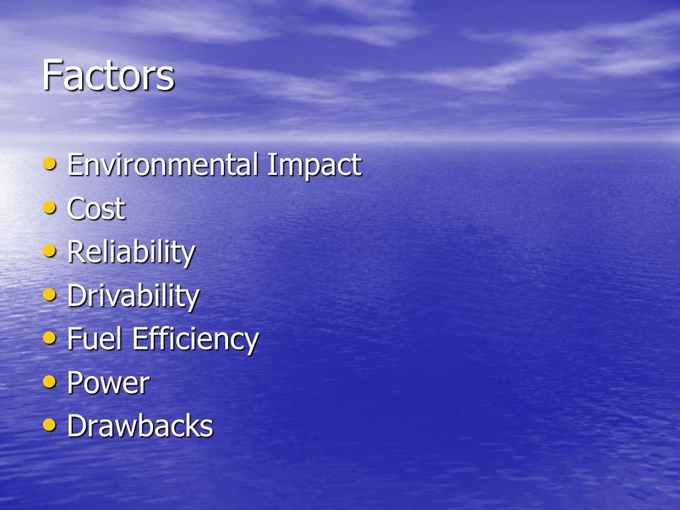 Factors Environmental Impact Environmental Impact Cost Cost Reliability Reliability Drivability Drivability Fuel Efficiency Fuel Efficiency Power Powe