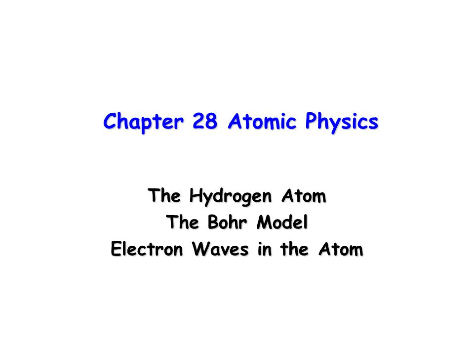 Equations Associated with The Bohr Model Electron's angular momentum L=I  =mvr n =nh/2  n=1,2,3 n is called quantum number of the orbit Radius of a circular orbit r n =n 2 h 2 /4  2 mkZe 2 =(n 2 /Z)r 1 where r 1 =h 2 /4  2 mke 2 =5.29x10 -11 m (n=1) r 1 is called Bohr radius, the smallest orbit in H Total energy for an electron in the nth orbit: E n =(-2  2 Z 2 e 4 mk 2 /h 2 )(1/n 2 )=(Z 2 /n 2 )E 1 where E 1 =-2  2 Z 2 e 4 mk 2 /h 2 =-13.6 eV (n=1) E 1 is called Ground State of the hydrogen Both orbits and energies depend on n, the quantum number