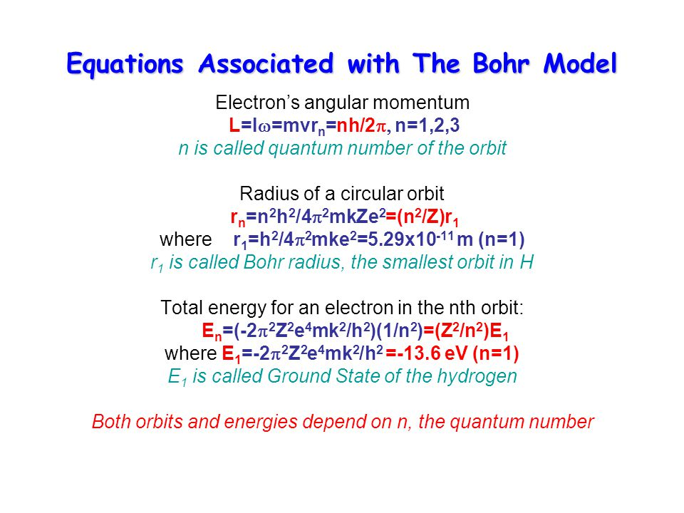 Equations Associated with The Bohr Model Electron's angular momentum L=I  =mvr n =nh/2  n=1,2,3 n is called quantum number of the orbit Radius of