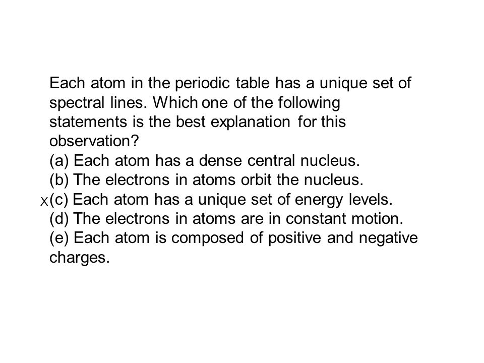 Each atom in the periodic table has a unique set of spectral lines. Which one of the following statements is the best explanation for this observation