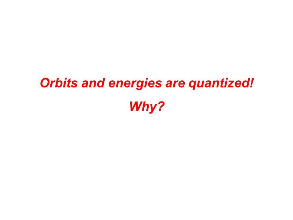 Orbits and energies are quantized! Why?