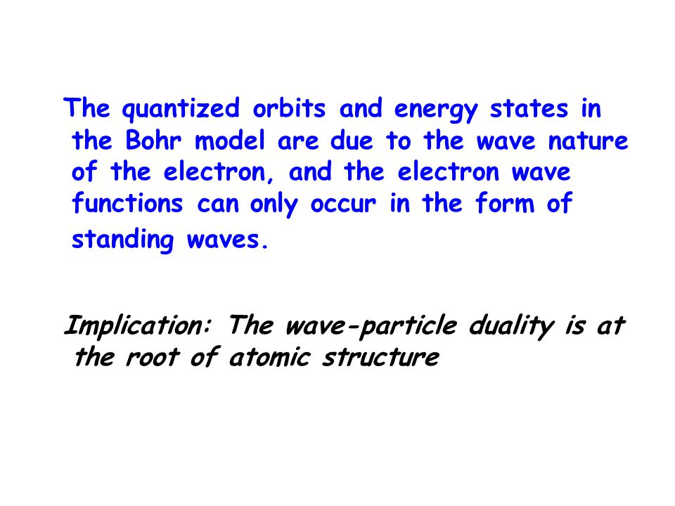The quantized orbits and energy states in the Bohr model are due to the wave nature of the electron, and the electron wave functions can only occur in the form of standing waves.