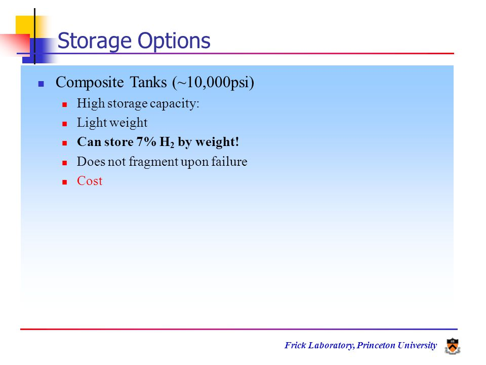 Frick Laboratory, Princeton University Storage Options Composite Tanks (~10,000psi) High storage capacity: Light weight Can store 7% H 2 by weight.