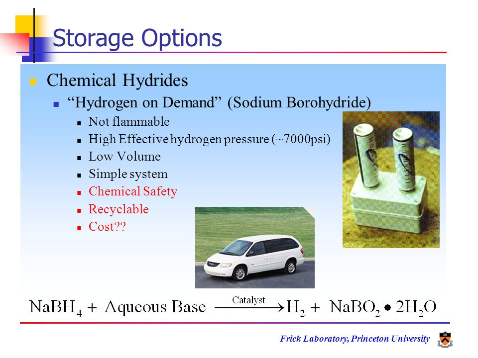 Frick Laboratory, Princeton University Storage Options Chemical Hydrides Hydrogen on Demand (Sodium Borohydride) Not flammable High Effective hydrogen pressure (~7000psi) Low Volume Simple system Chemical Safety Recyclable Cost