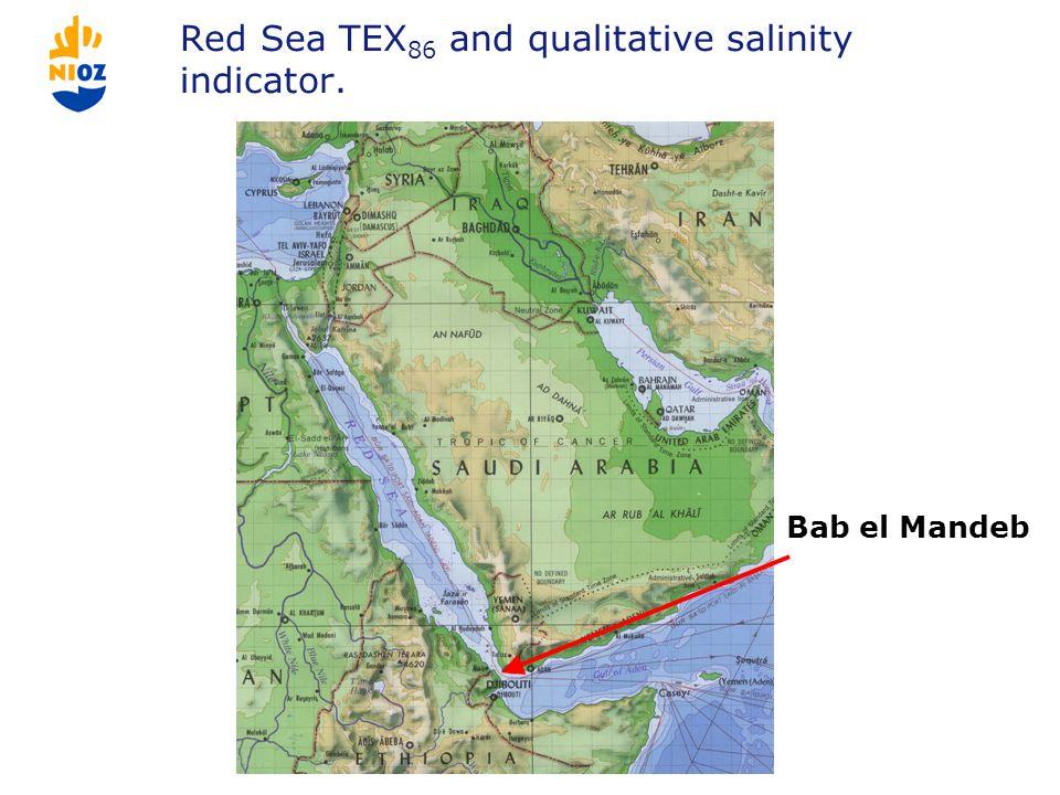 Red Sea TEX 86 and qualitative salinity indicator. Bab el Mandeb